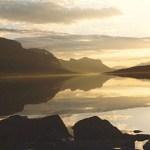 sverige, solnedgång vid saltoluokta