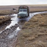 Typiska vägförhållanden i västra Tibet