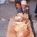 Köttdisk på marknad. Lhasa