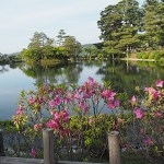 Trädgården Kenroku-en. Kanazawa