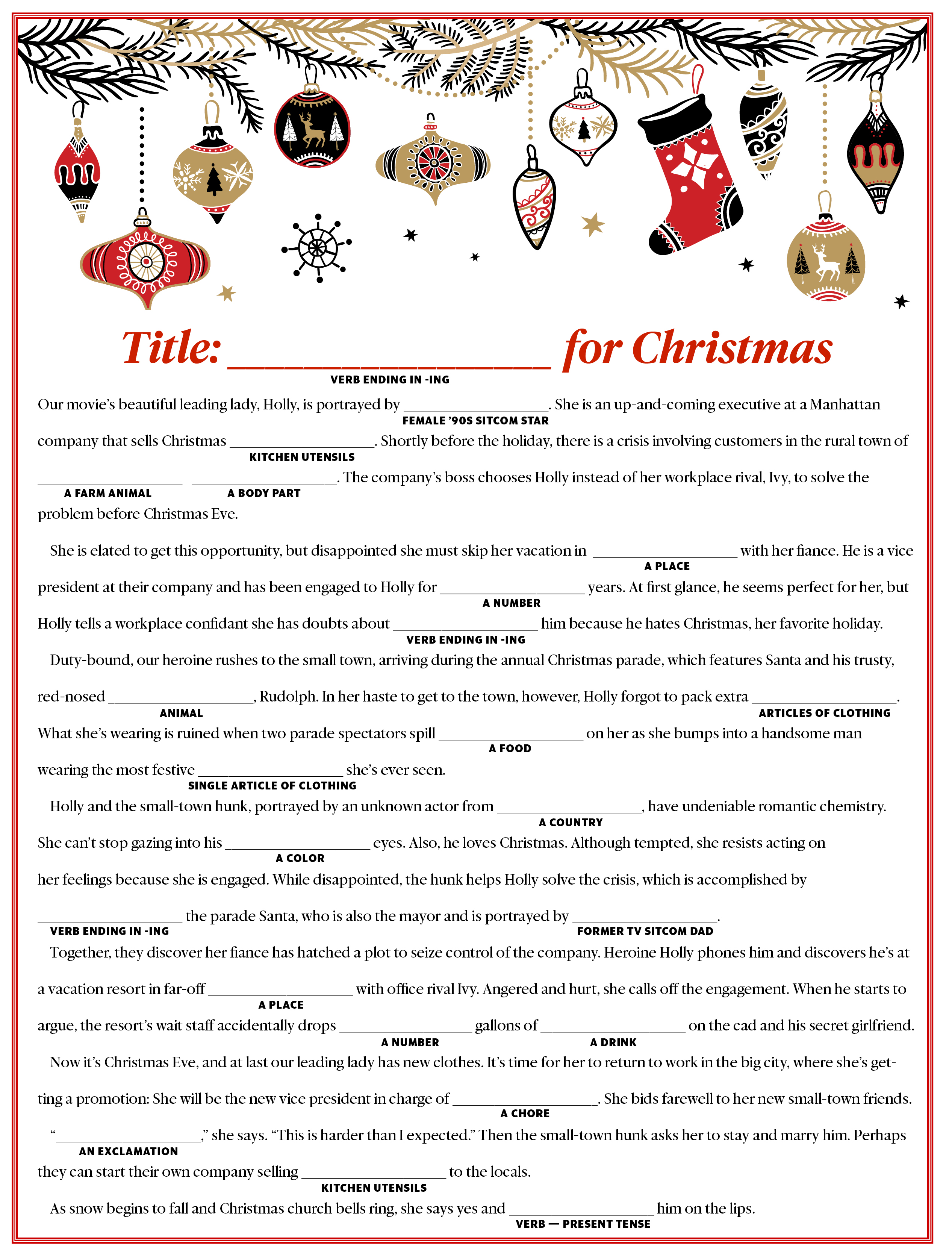 Create Your Own Holiday Movie Mad Libs Game