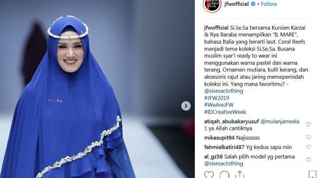 Penampilan Mulan Jameela di ajang JFW 2019. (Instagram)