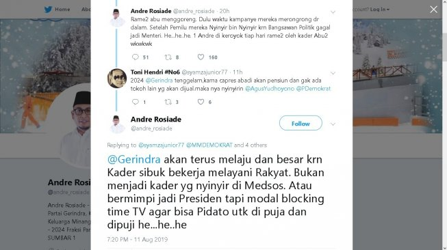 Cuitan Andre Rosiade - (Twitter/@andre_rosiade)