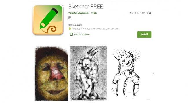 Aplikasi gambar atau doodle Android, Sketcher Free. [Google Play Store]