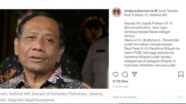 Surat terbuka Tengku Zulkarnain kepada Mahfud MD. (Instagram/tengkuzulkarnain)
