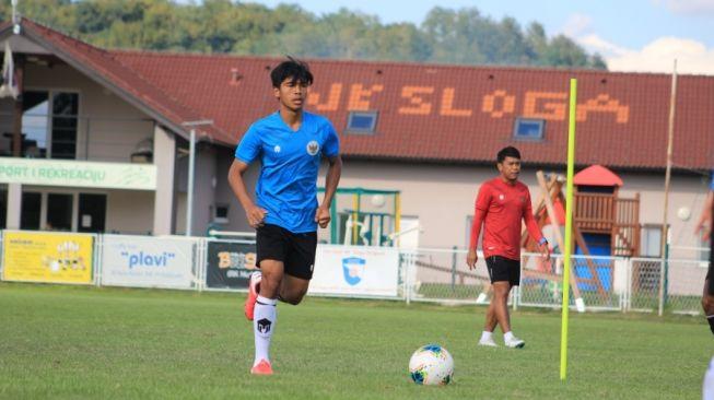 Pemain Timnas Indonesia U-19, David Maulana, saat menjalani TC di Kroasia (dok. PSSI).