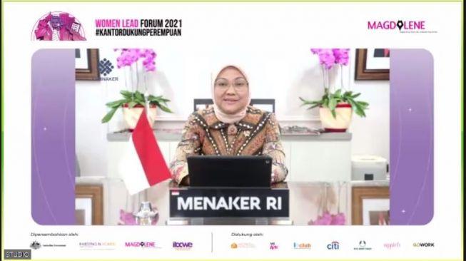 Menteri Ketenagakerjaan RI, Dr. Hj. Ida Fauziyah, M.Si dalam Women Lead Forum 2021 (tangkap layar Zoom Women Lead Forum 20210