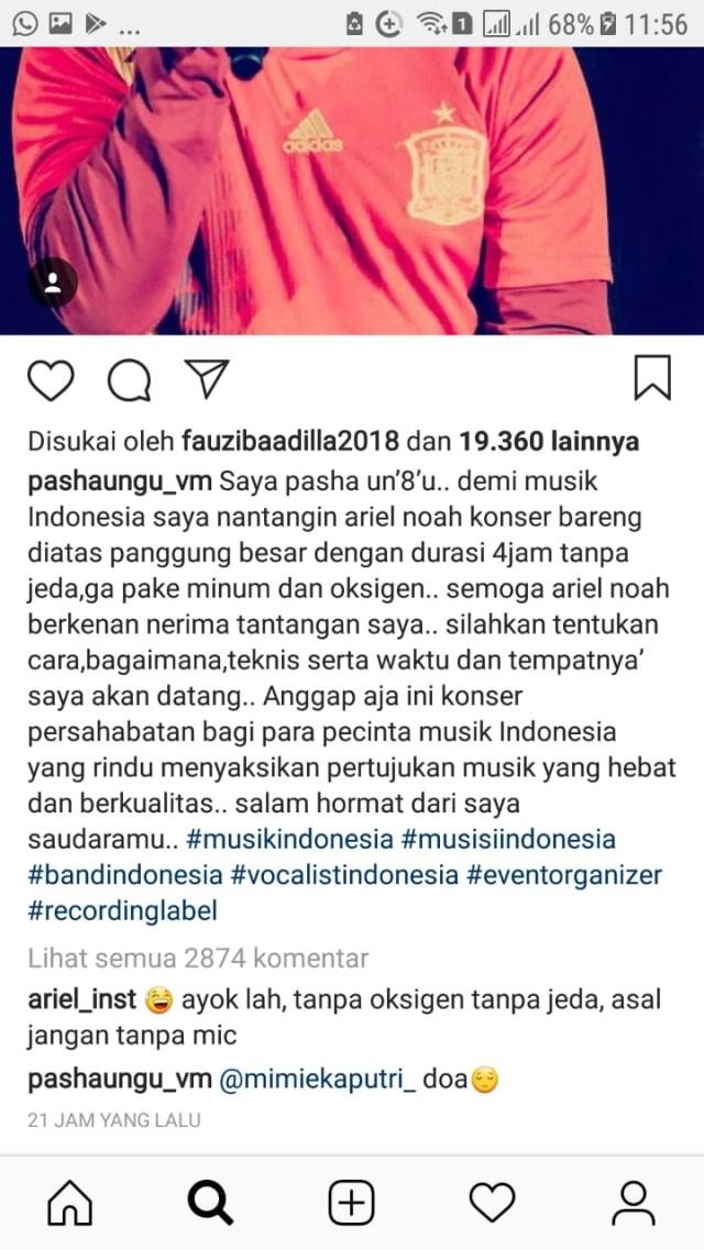 Pasha Ungu tantang Ariel NOAH. [Instagram]