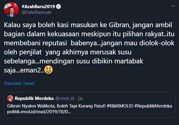 Cuitan Fahri Hamzah. (Twitter)