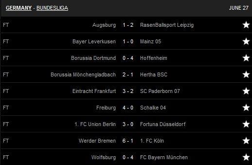 Hasil pertandingan pekan ke-34 Bundesliga musim 2019-2020. [Tangkapan layar Livescore.com]