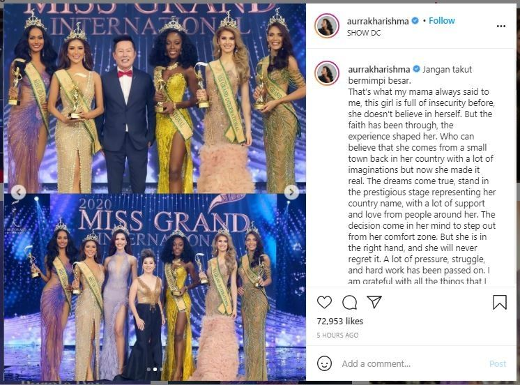 Perwakilan Indonesia Aurra Kharisma di Ajang Miss Grand International (instagram.com/aurrakharishma)