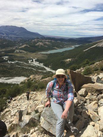 Ann-Catrin på väg mot toppen