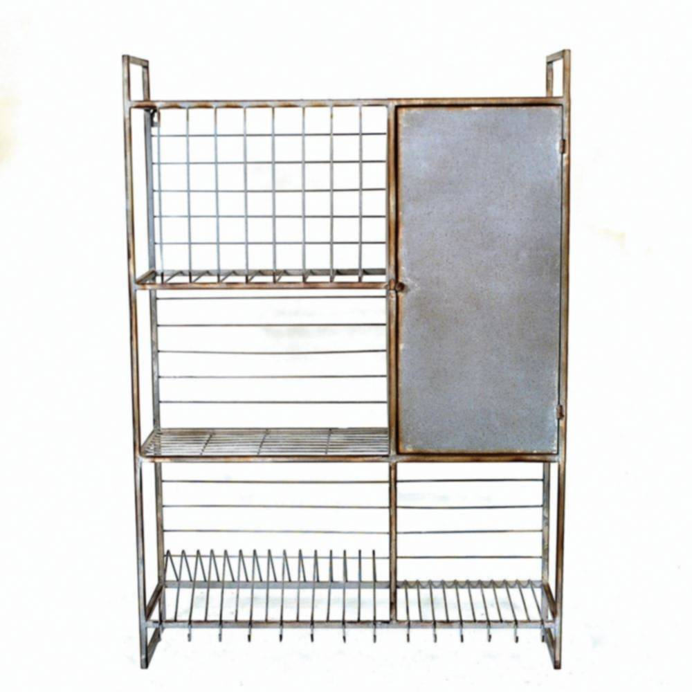 metal wall rack with shelves and hooks