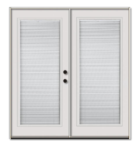 left hand french patio door unit with internal blinds
