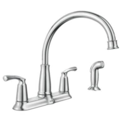 Moen 87403 Bexley Chrome Two Handle High Arc Kitchen Faucet With