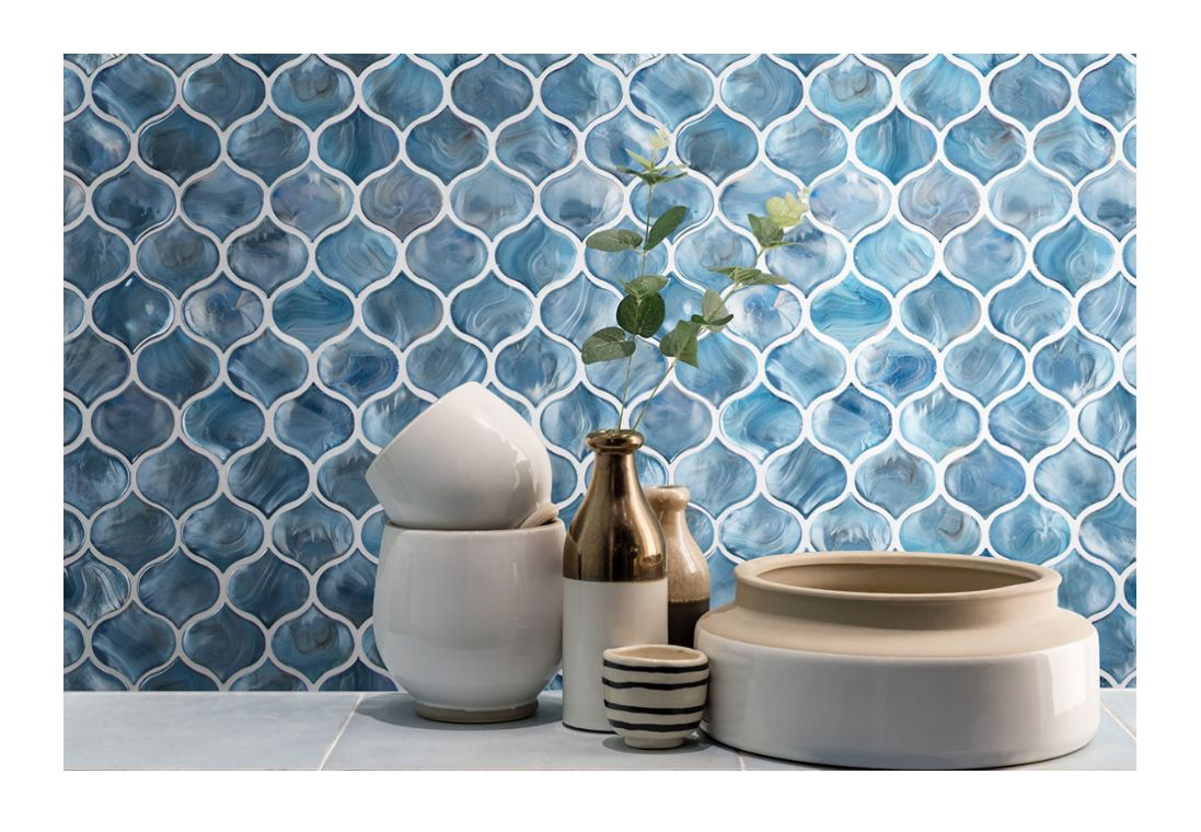 8mm blue shimmer arabesque wall tile