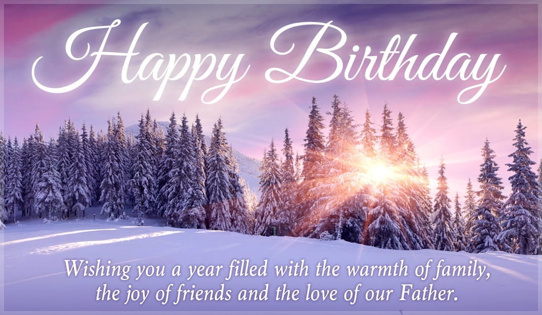 Free Happy Birthday Winter Scene Ecard Email Free Personalized Birthday Cards Online