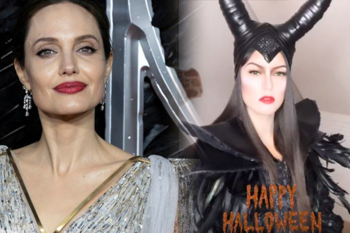 """Photo montage: Hollywood Star Angelina Jolie (45/l.) played in the Disney movie, the dark Fairy """"Maleficent"""". Halloween slipped Model and presenter Rebecca Mir (28) in the elaborate witch costume."""