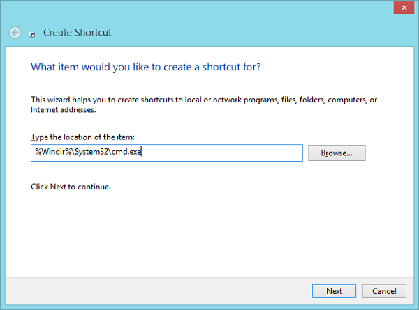 Command Prompt Create_Shortcut_Directory