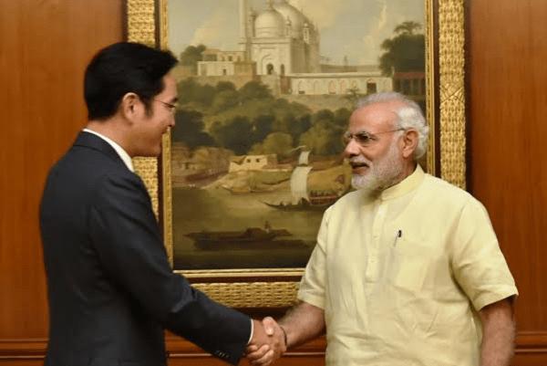 samsung vice chairman meets prime minister modi