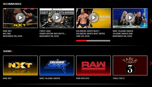 wwe network shows