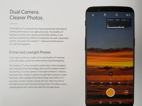 OnePlus 5T Box Leak Camera Features