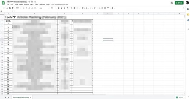 Google Docs Document imported into Google Sheets