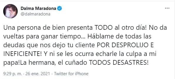 Dalma Maradona en guerra con Maurico D