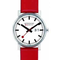 montre-mondaine-evo-gents-blanche-big-date-bracelet-rouge-40mm