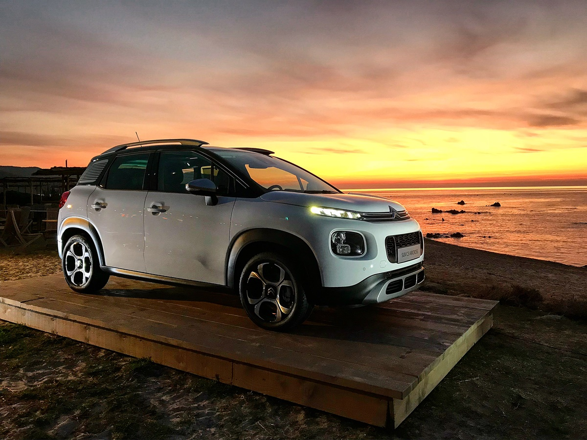 C3 aircross coucher soleil