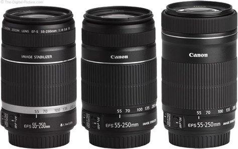 Three Generations of Canon EF-S 55-250mm IS Lenses