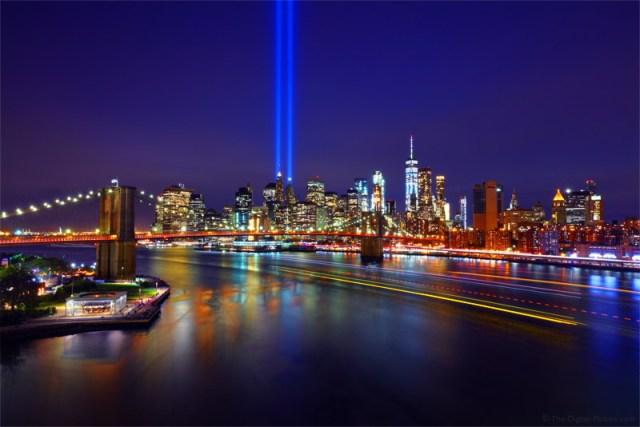 9/11 Tribute in Light, Brooklyn Bridge, One World Trade Center and Manhattan