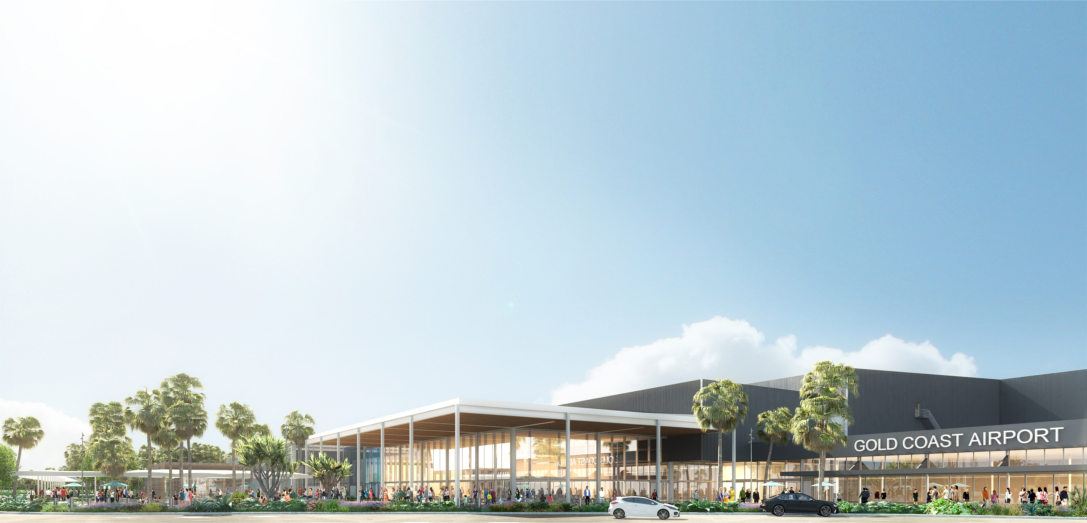 The Gold Coast airport southern terminal expansion. Rendering shows the new arrivals hall, forecourt areas and connection to the existing terminal.