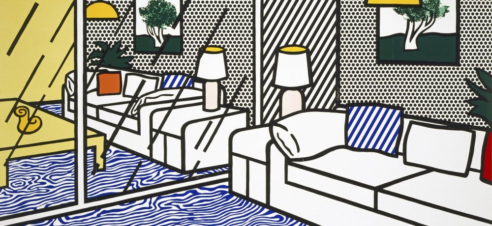 ロイ・リキテンスタイン Wallpaper with Blue Floor Interior