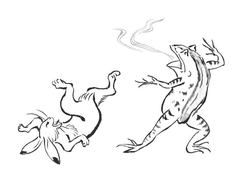 鳥獣戯画 ウサギとカエル