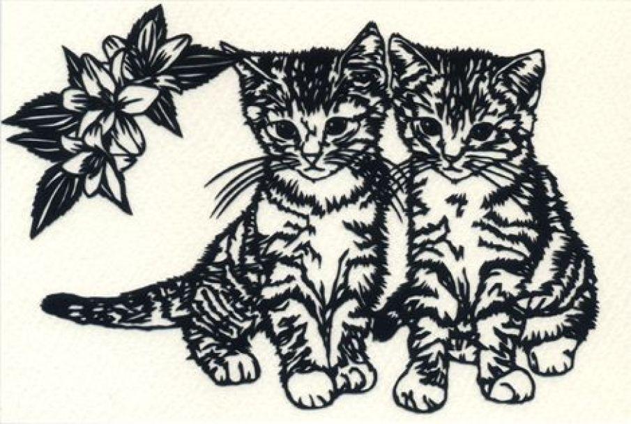 切り絵 図案 猫