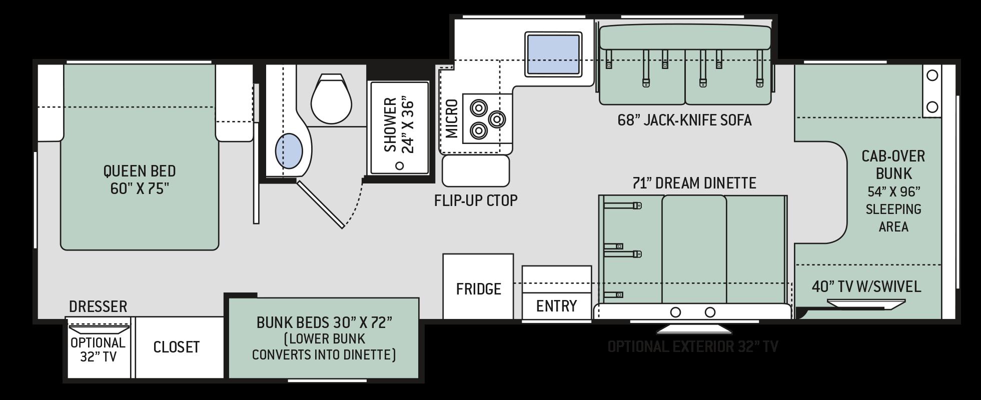 Chateau Class C Motorhomes - Floor Plan: 30D