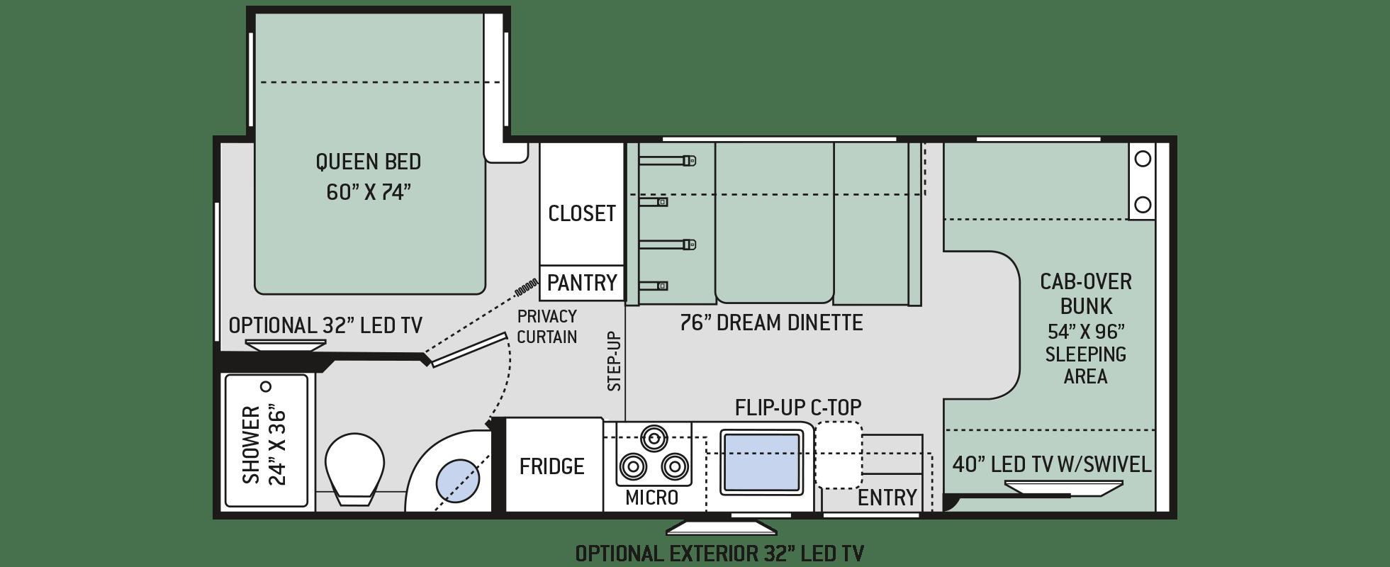 Chateau Class C Motorhomes - Floor Plan: 22B