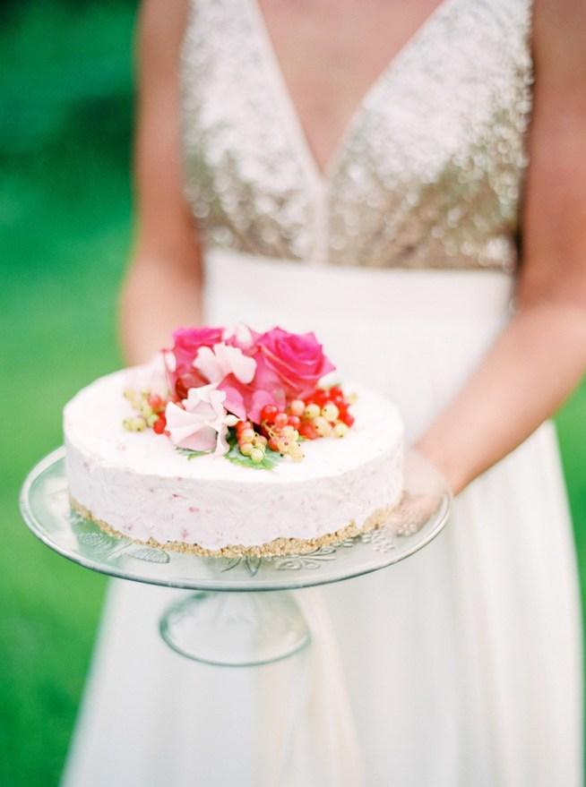 halloncheesecake som bröllopstårta