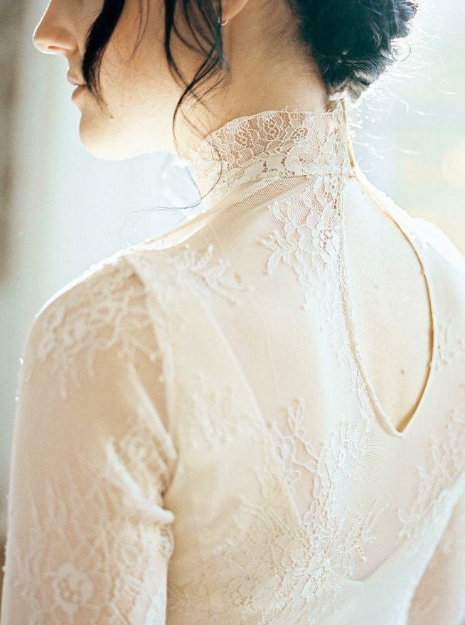 couture wedding dress with high neck