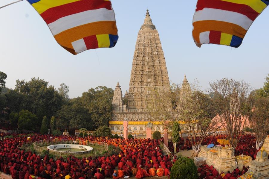 Mahabodhi temple in Bodh Gaya in January 2010