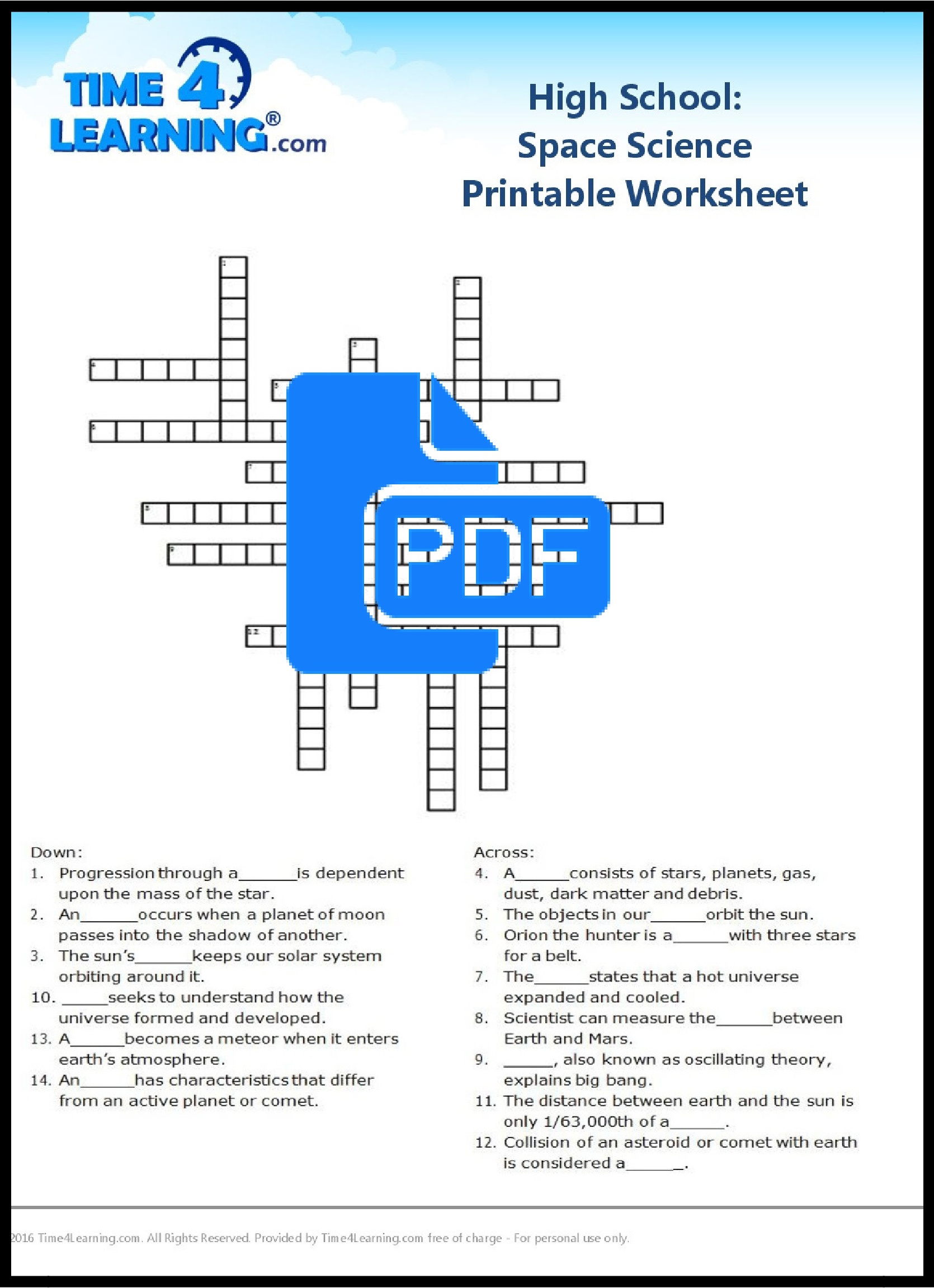 Printable Science Worksheet 9th