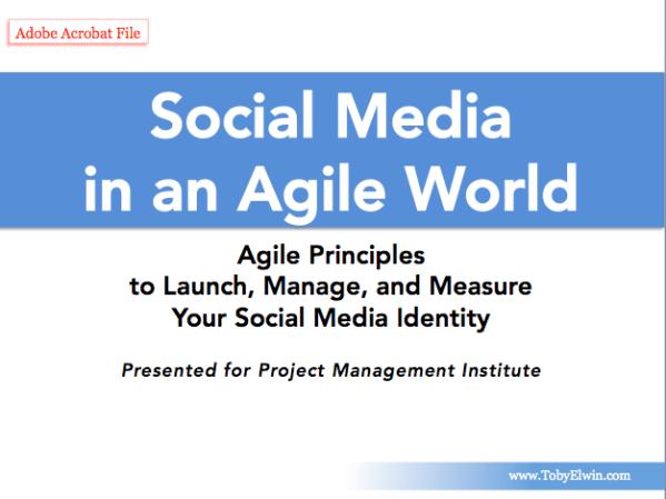 Agile social media, project management, web 2.0, toby elwin, project management