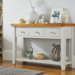 Cheshire Grey Painted Large 3 Drawer Oak Console Table Fully Assembled