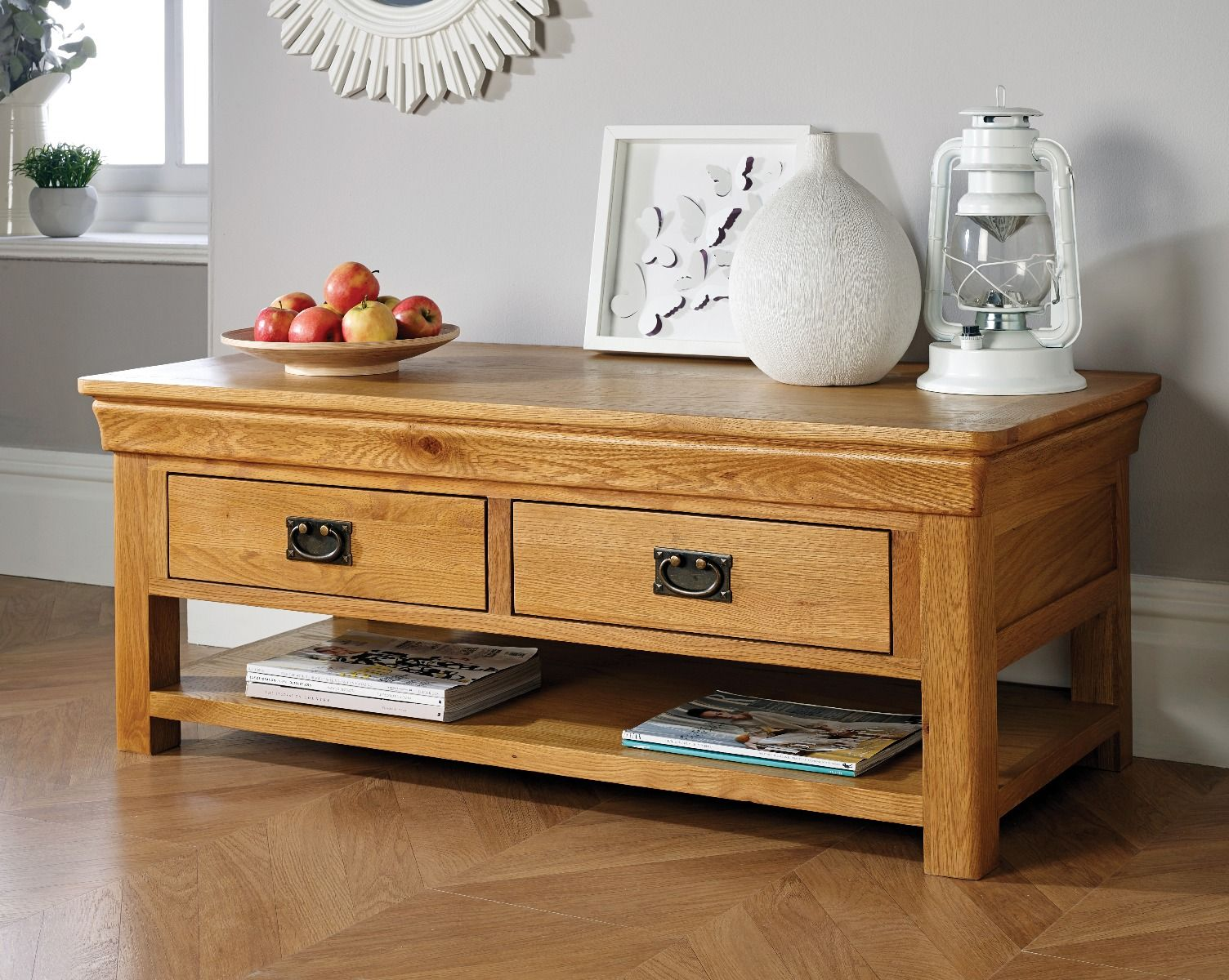 farmhouse oak large coffee table with shelf