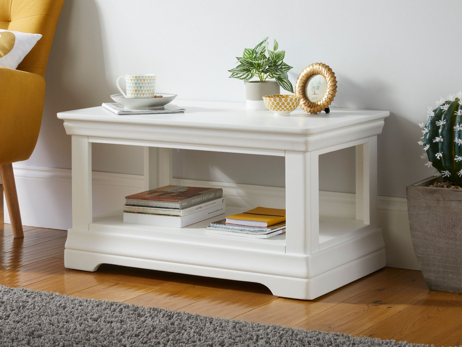 toulouse white painted coffee table with shelf march mega deal