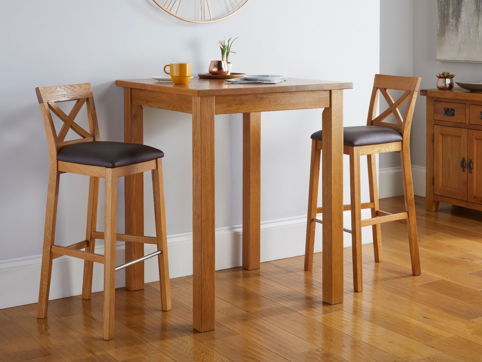 Country Oak Tall Breakfast Bar Table 80cm Square