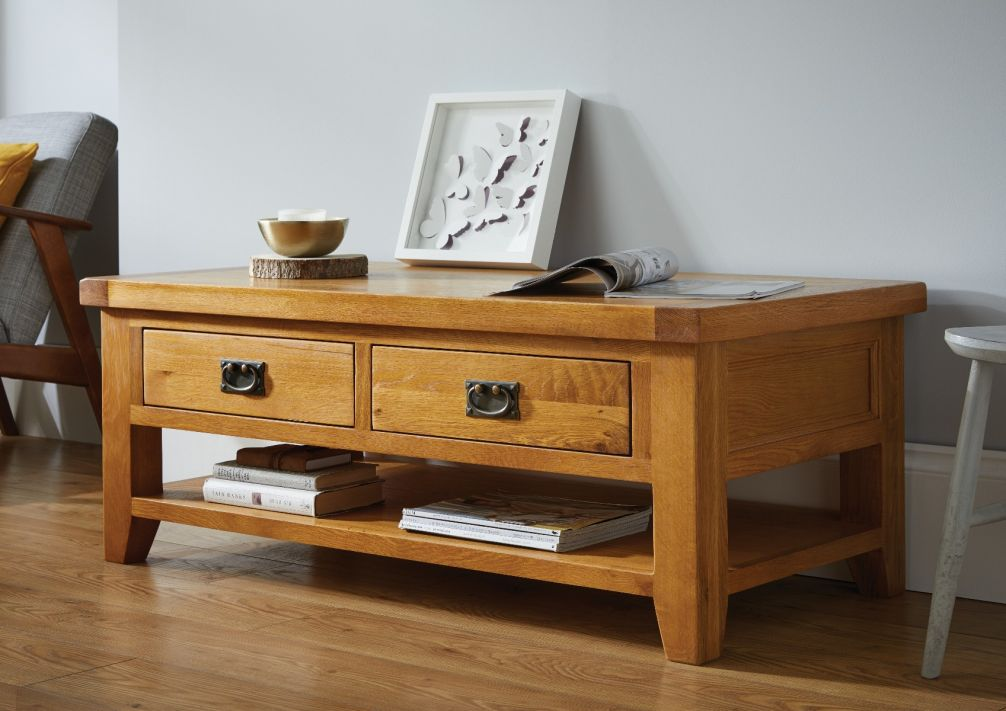 country oak large 4 drawer coffee table with shelf march mega deal