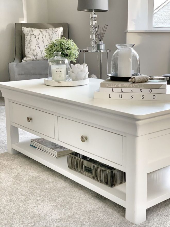 toulouse white painted large coffee table 4 drawers with shelf top seller