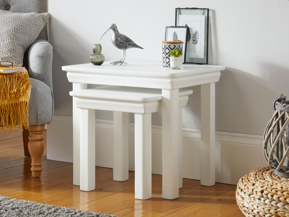 toulouse white painted nest of two tables